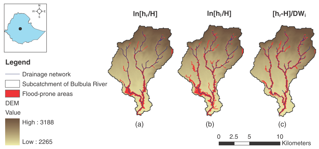 DEM-Based Approaches for the Delineation of Flood-Prone Areas in an Ungauged Basin in Africa