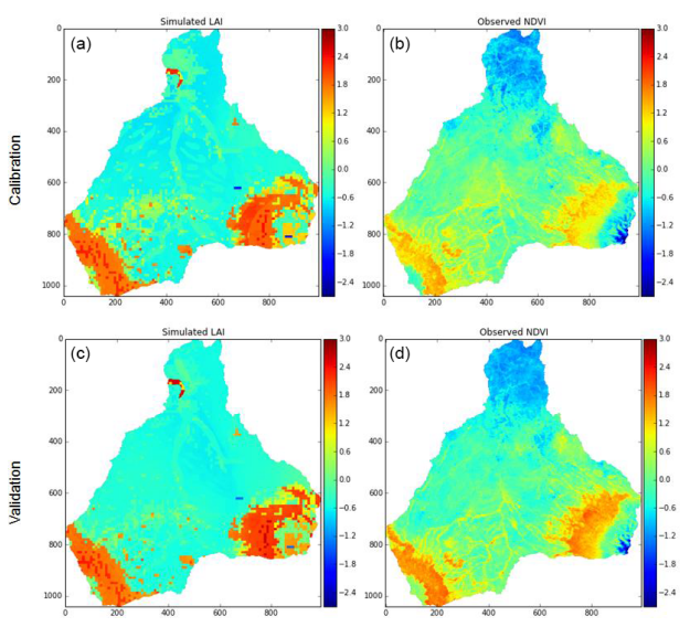 Calibration of a parsimonious distributed ecohydrological daily model in a data-scarce basin by exclusively using the spatio-temporal variation of NDVI