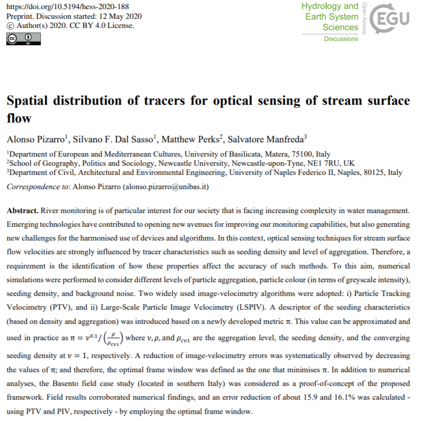 Spatial distribution of tracers for optical sensing of stream surface flow