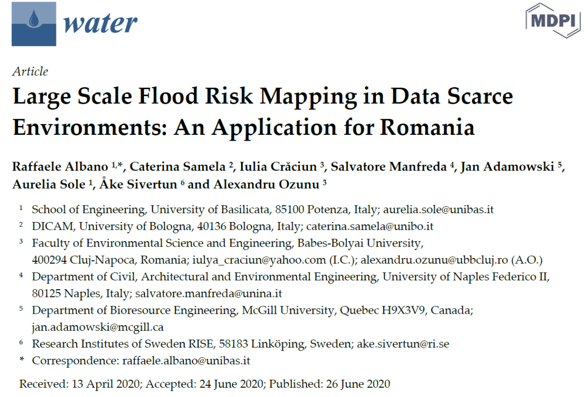 Large Scale Flood Risk Mapping in Data Scarce Environments: An Application for Romania