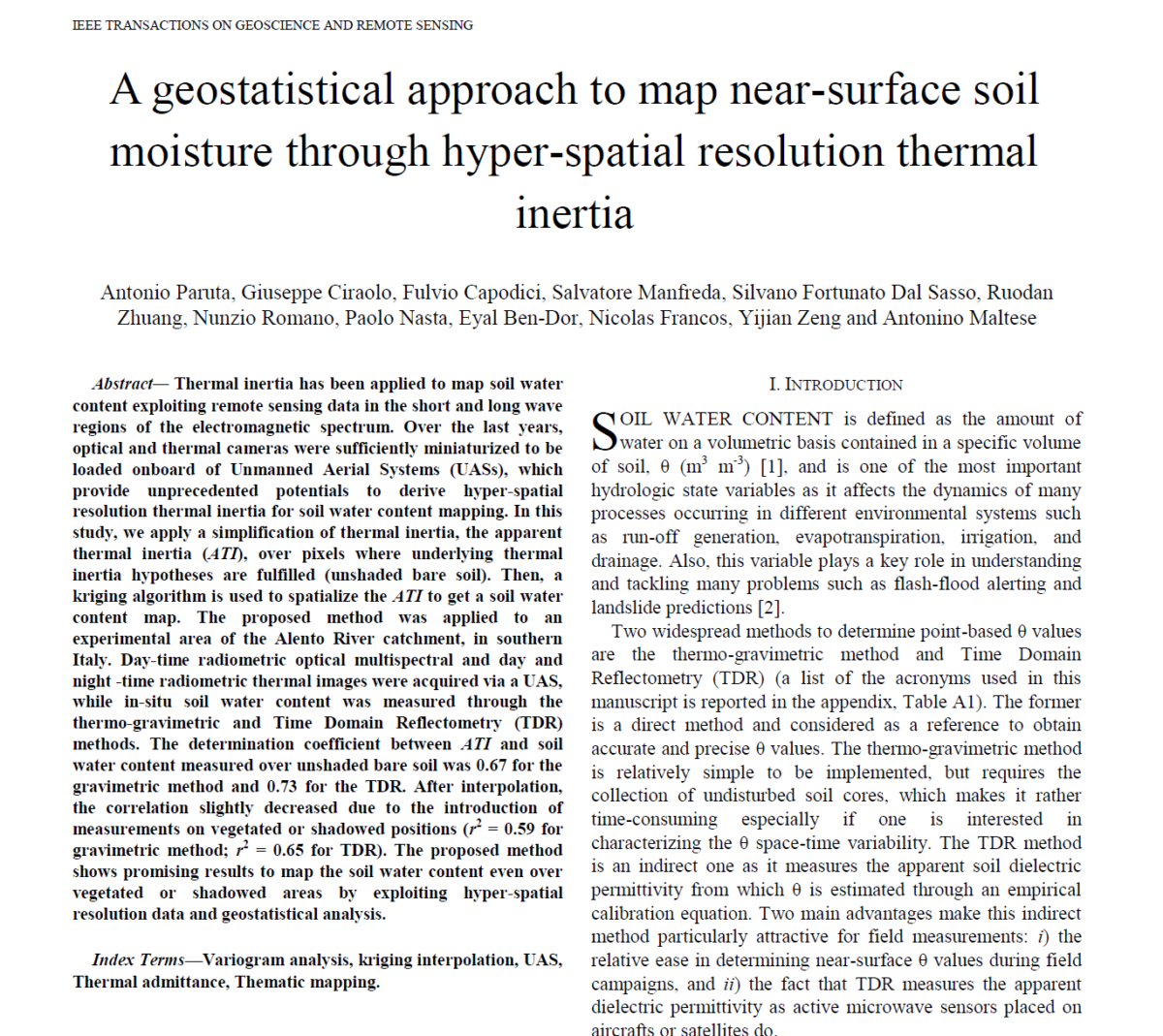 A Geostatistical Approach to Map Near-Surface Soil Moisture Through Hyperspatial Resolution Thermal Inertia