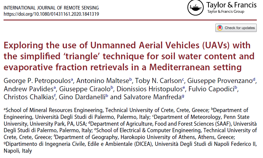 Exploring the use of UAVs with the simplified 'triangle' technique for soil water content and evaporative fraction retrievals in a Mediterranean setting