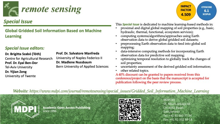 Special Issue on RS entitled Global Gridded Soil Information Based on Machine Learning