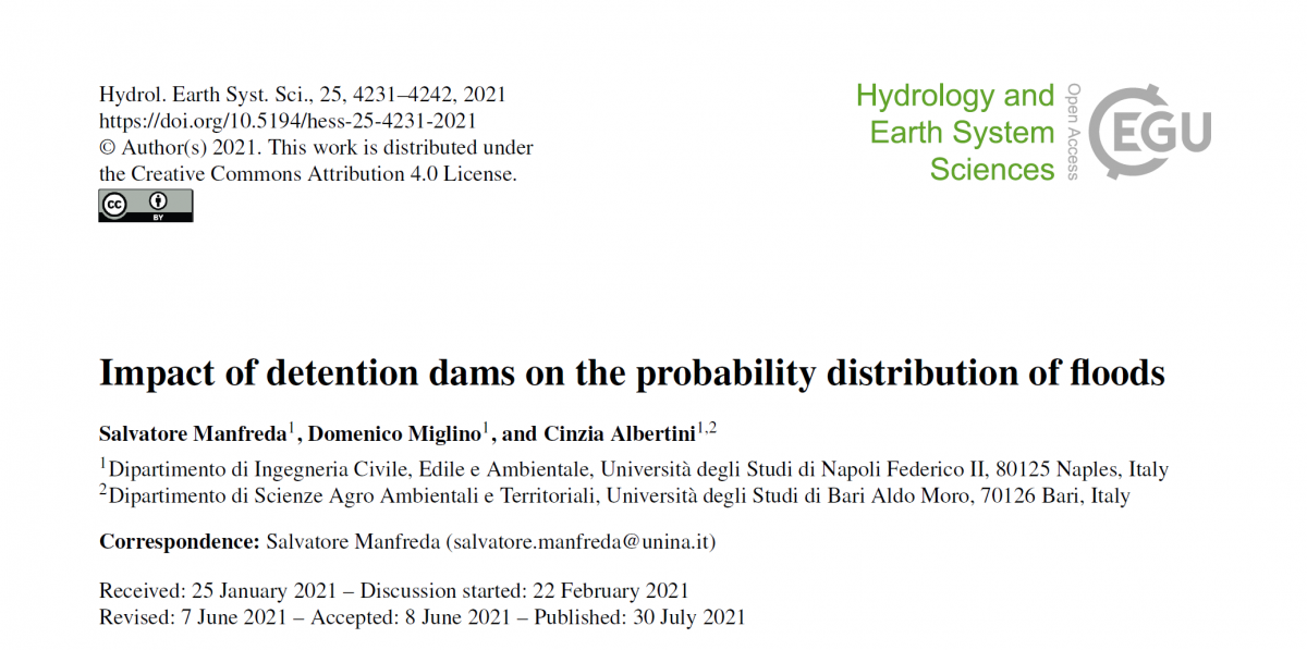 Impact of detention dams on the probability distribution of floods