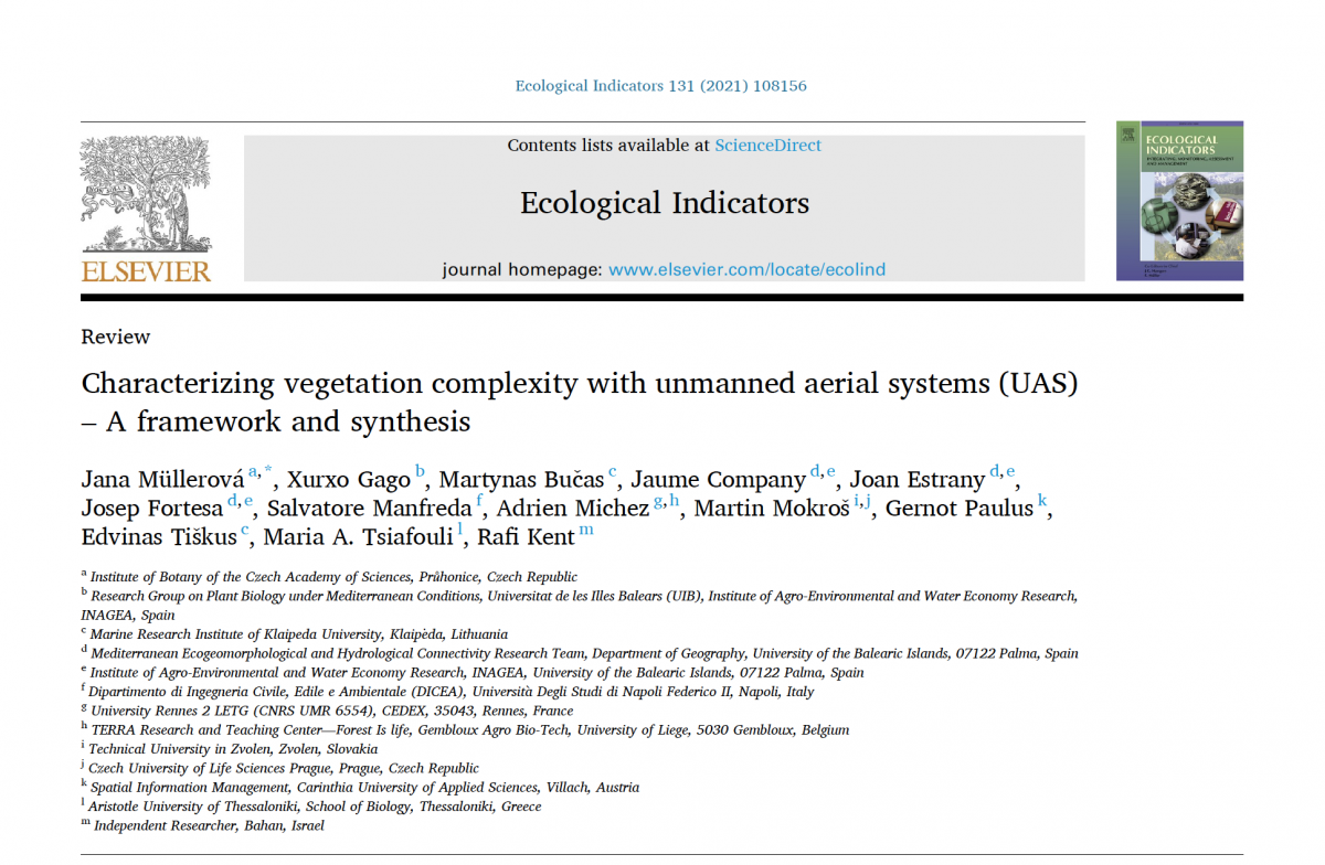 Characterizing vegetation complexity with unmanned aerial systems (UAS) – A framework and synthesis